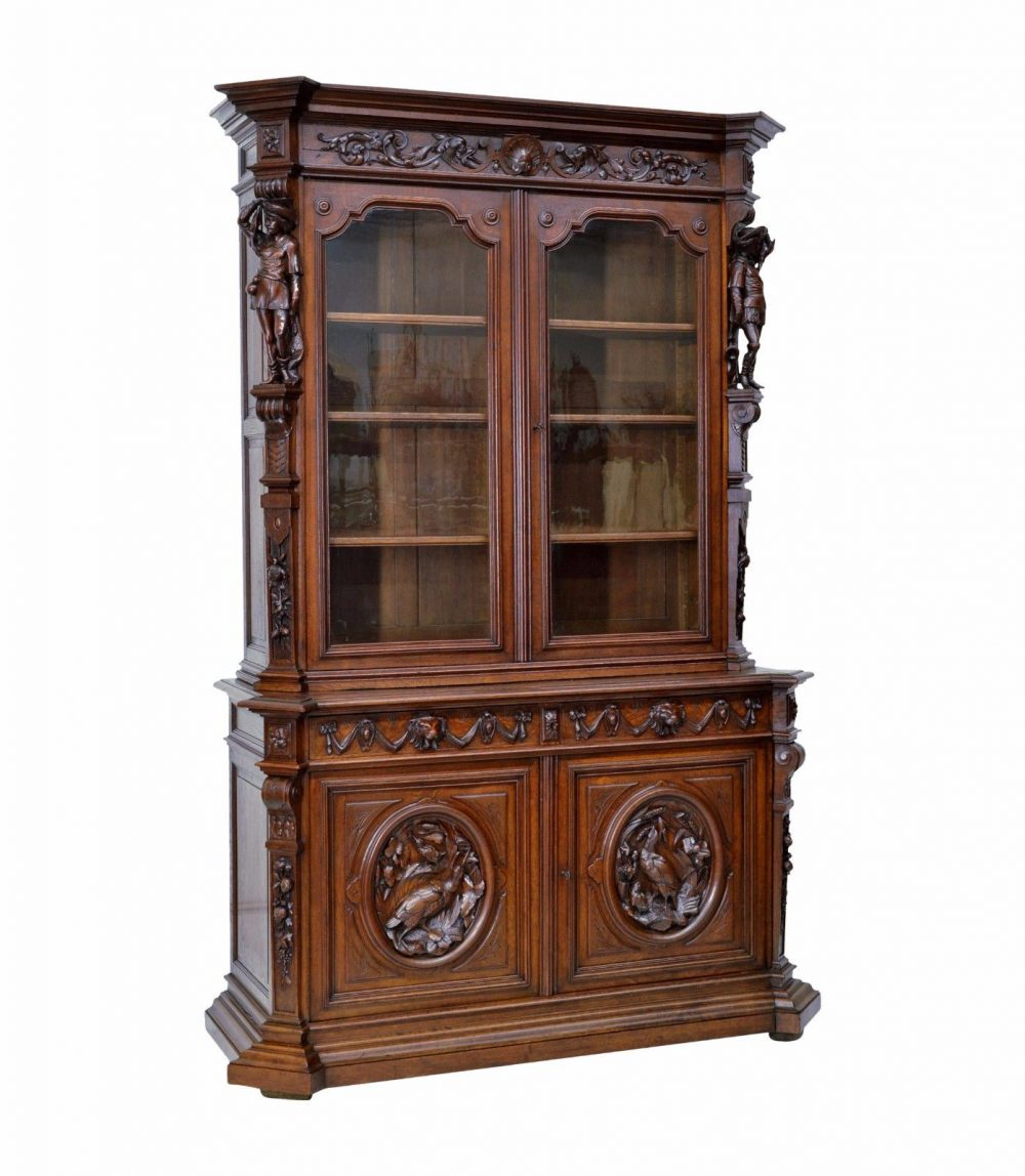 Large Antique French Carved Bookcase